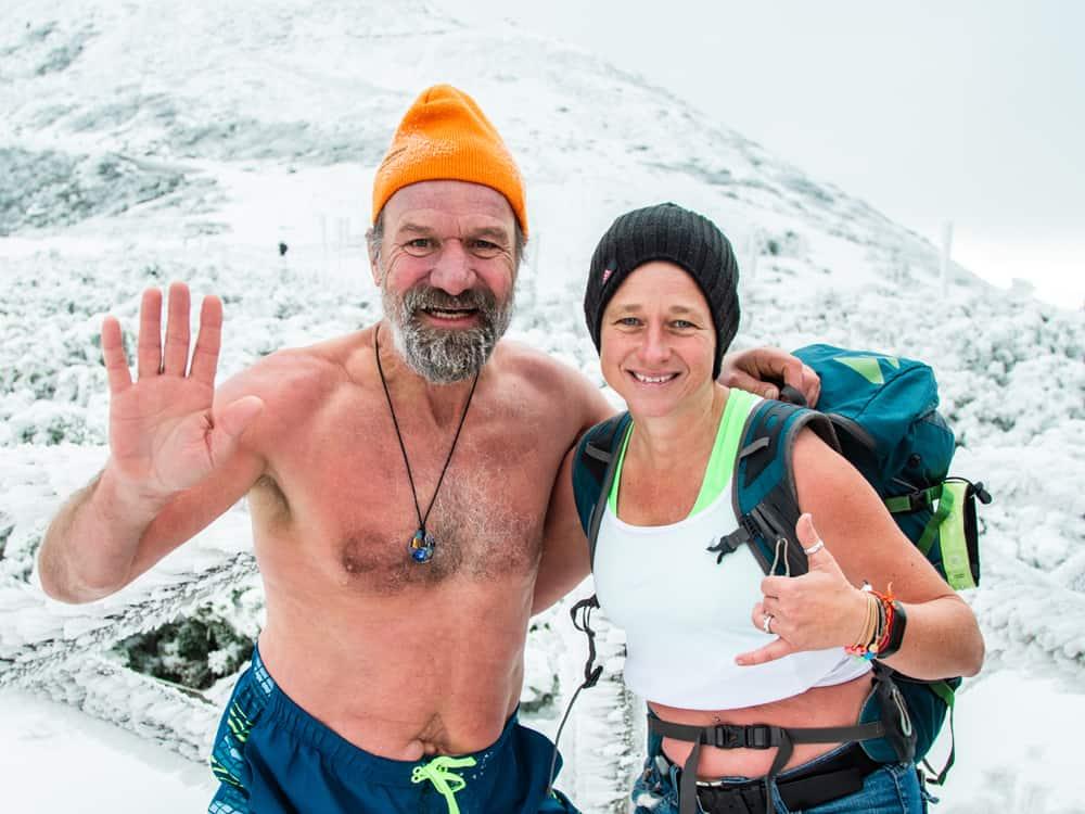 Wim Hof und Sonja Flandorfer unterwegs im Eis zum Training der Wim Hof Methode
